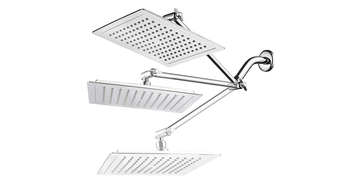 AquaSpa 1213 Giant 9-inch Diagonal Square Rain Chrome Finish Shower Head image