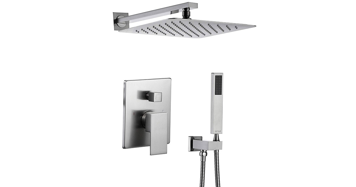 Esnbia ESU0322 Brushed Nickel 12-inches Rain Shower Head System image