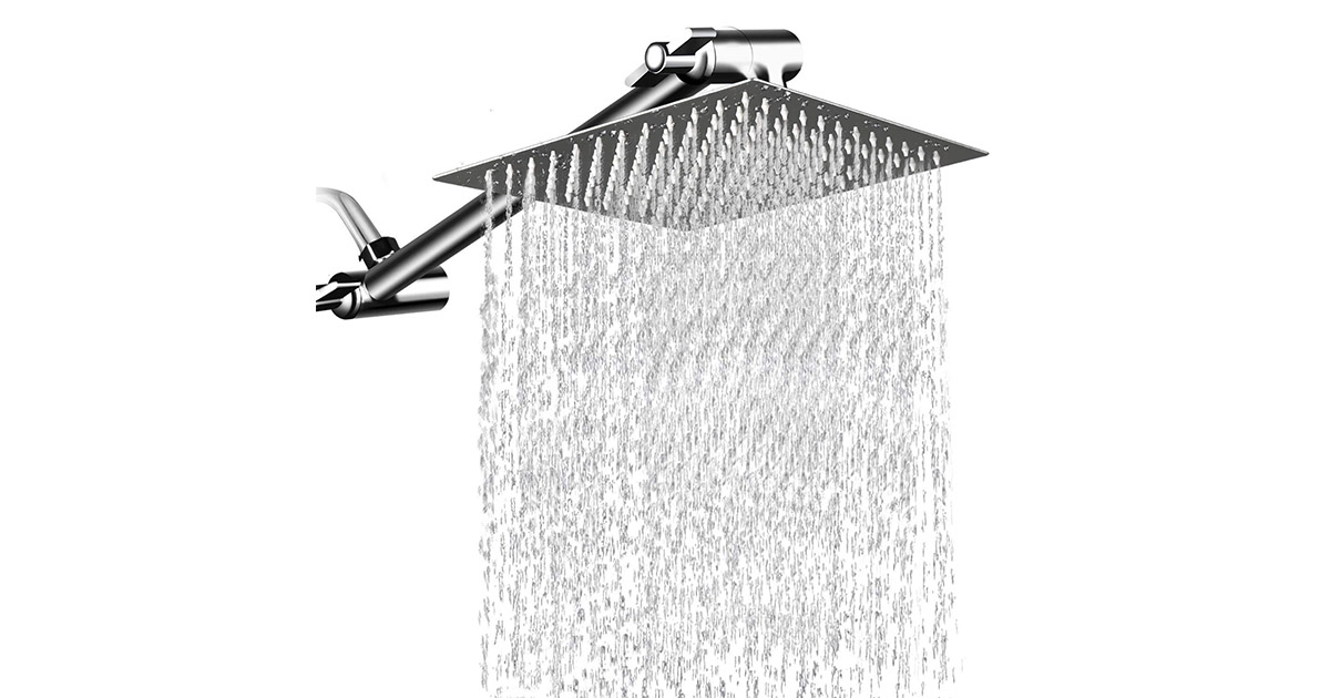 MeSun 8541794136 12 Inches Square Rain Large Stainless Steel High Pressure Showerhead image
